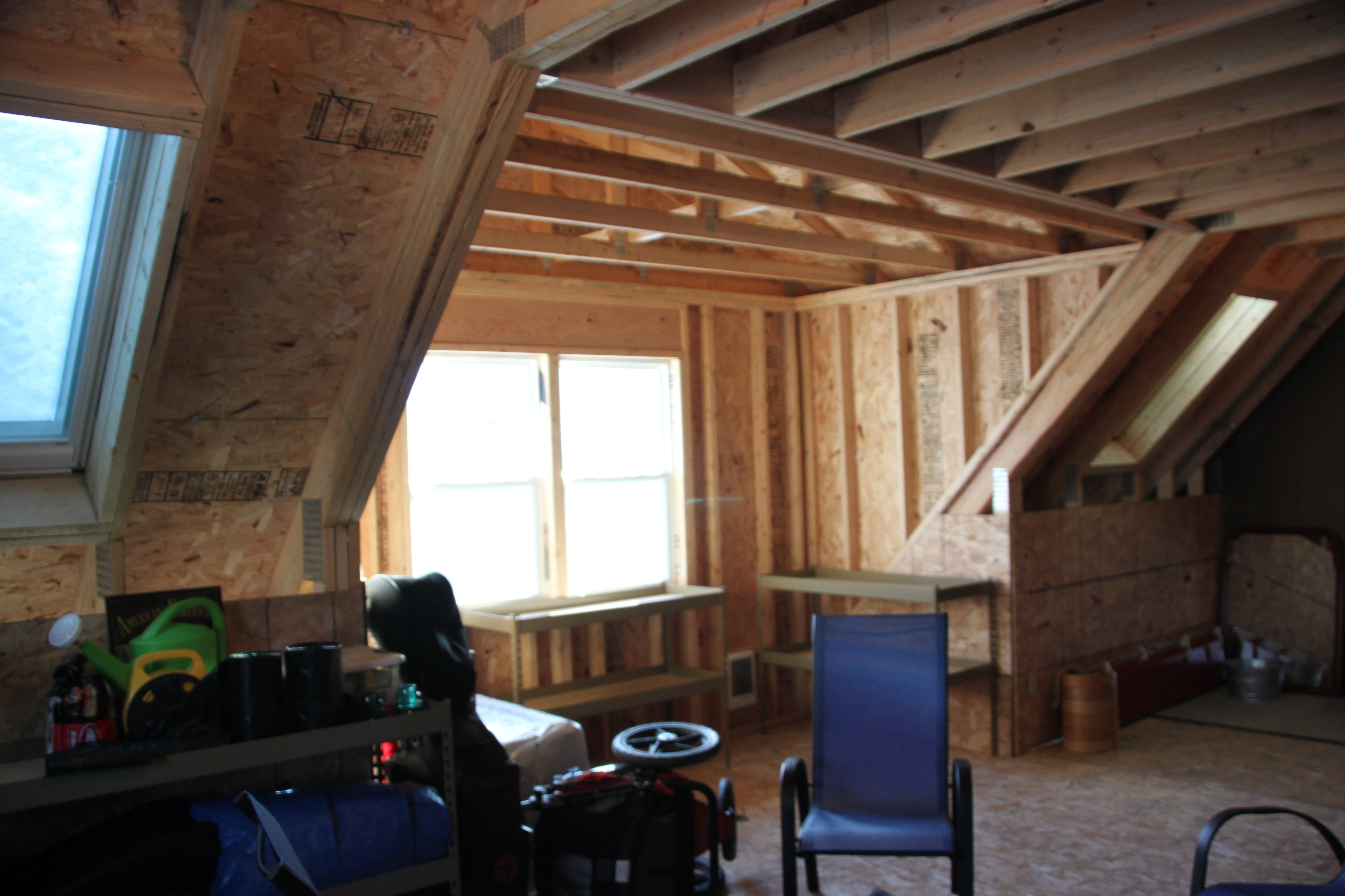 2 car 2 story garage using attic trusses and dormer for 3rd stall garage addition plans
