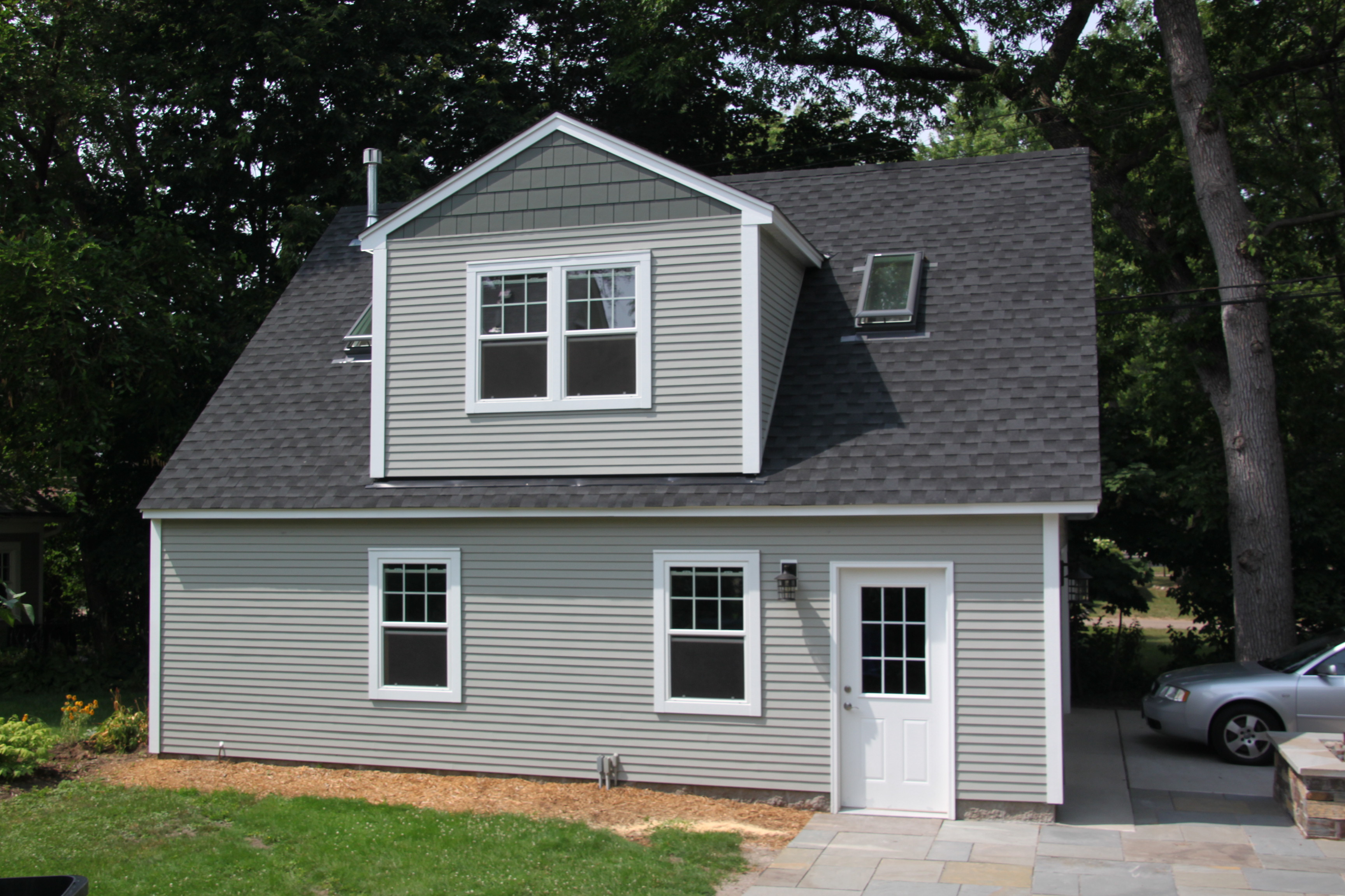 2 car 2 story garage using attic trusses and dormer for 2 story 2 car garage cost