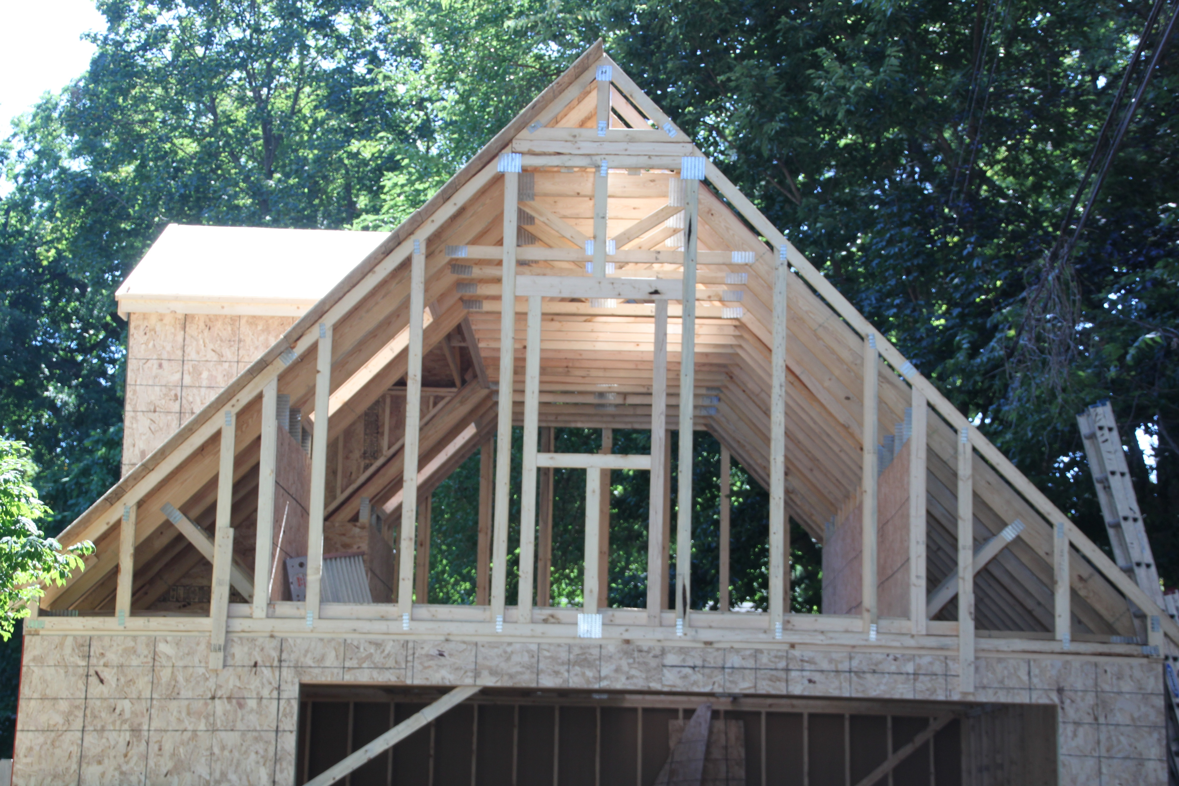 2 Car Story Garage Using Attic Trusses And Dormer