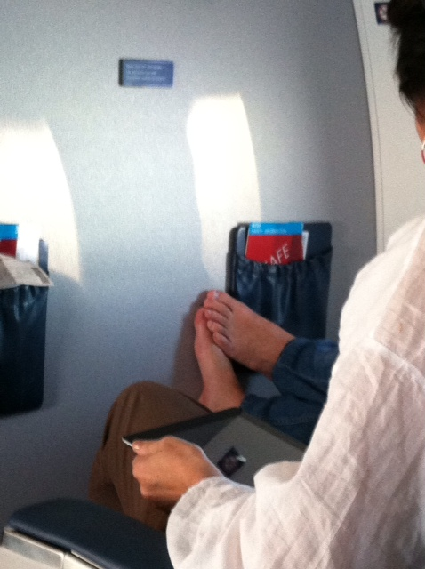 Bare Feet Airline Travel Minneapolis St Paul