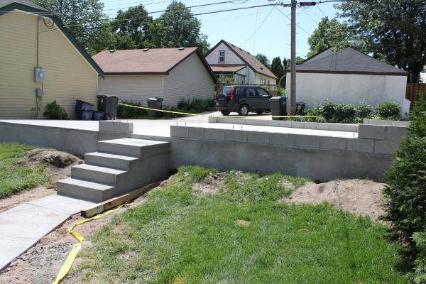 Two Car Garage Slab High Form Construction