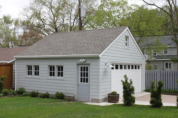 2 car garage with storage trusses and barn sash windows located in Minneapolis MN