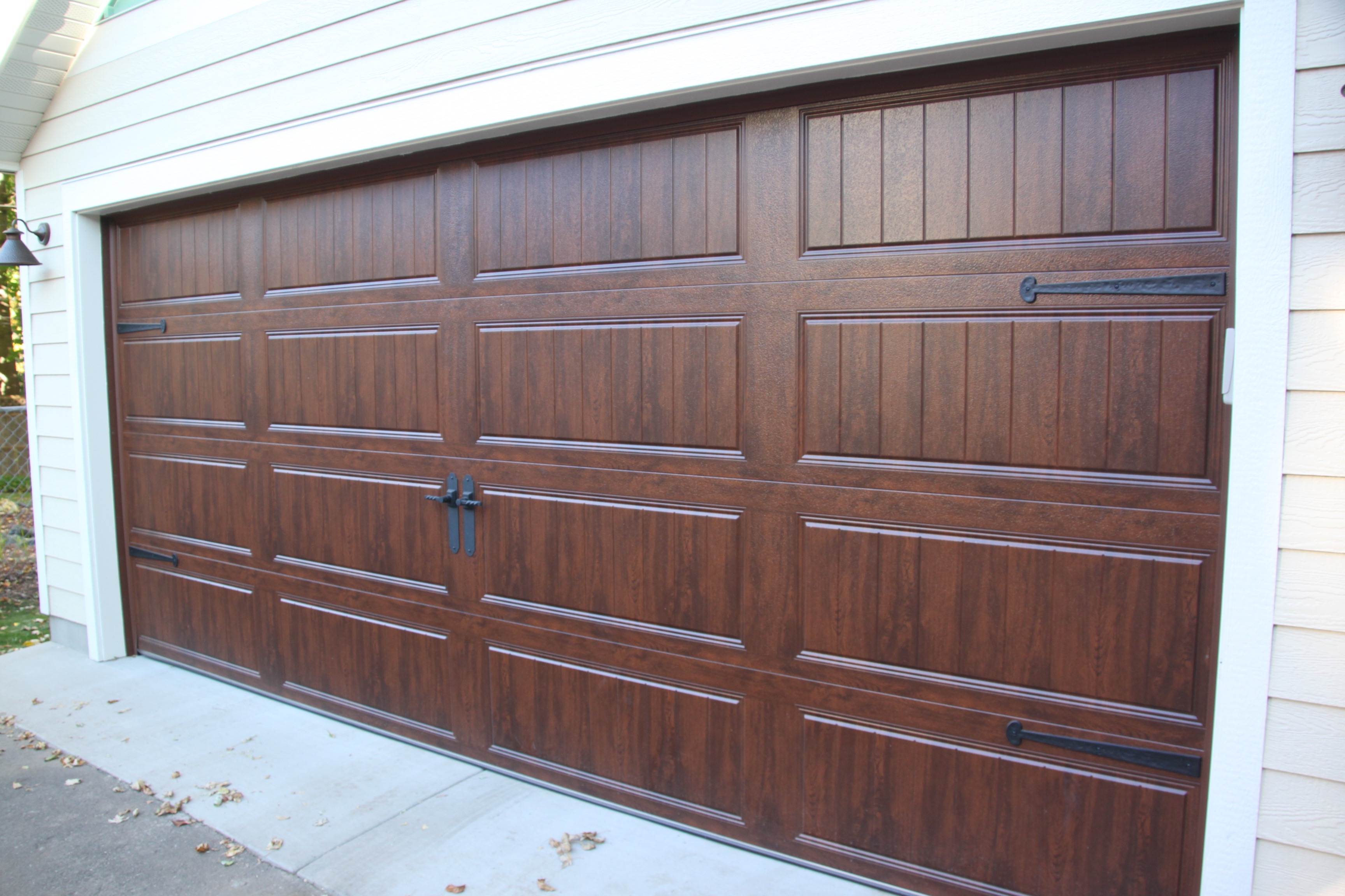 Wood Grain Walnut Brown Garage Doors Styles
